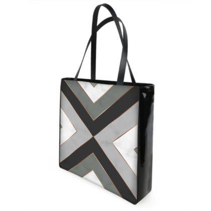 gray geometrical shopper bag