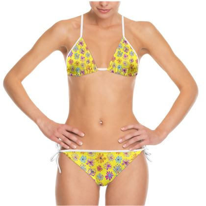 Rainbow Daisies Collection on yellow Bikini
