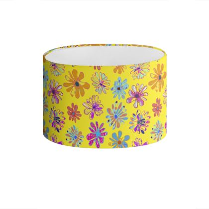 Rainbow Daisies Collection on yellow Drum Lamp Shade