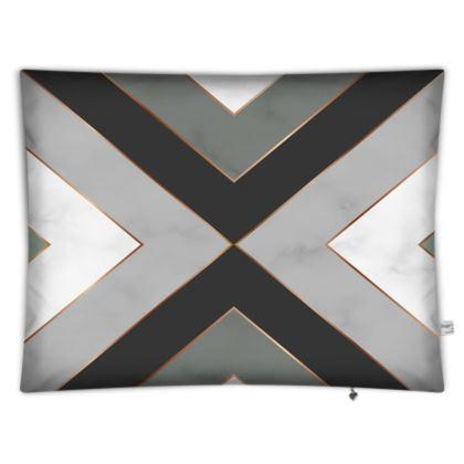 gray geometrical floor cushion