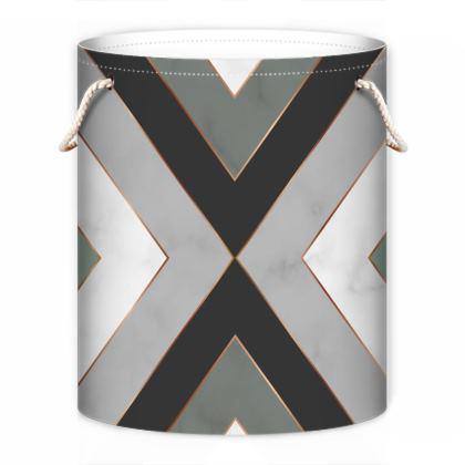 gray minimal geometrical laundry bag