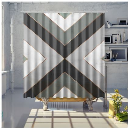 gray geometrical shower curtain