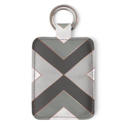 gray geometrical leather keyring