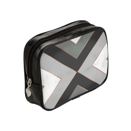 gray geometrical make up bag