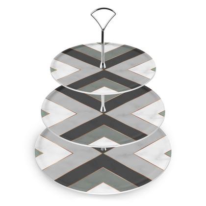 gray geometrical cake stand