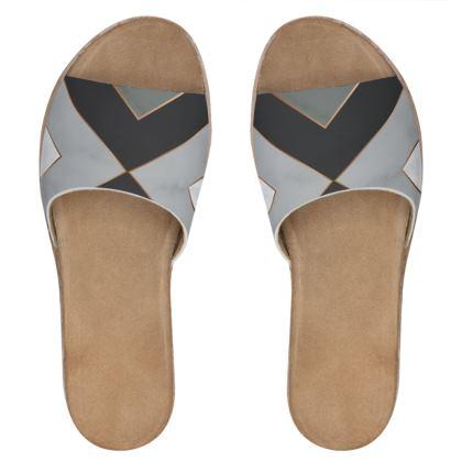 gray geometrical leather sliders