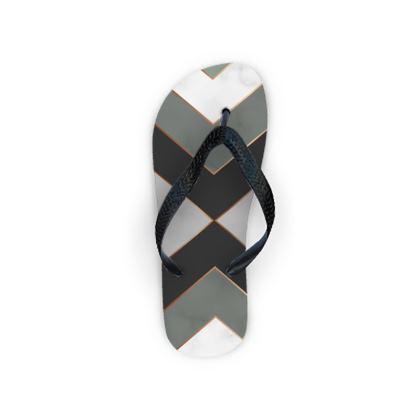 gray geometrical flip flops