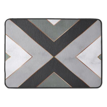 gray geometrical bath mat