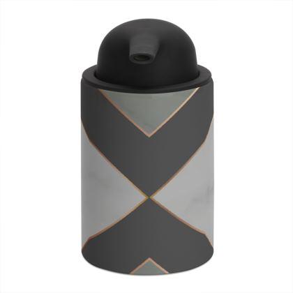 gray geometrical soap dispenser