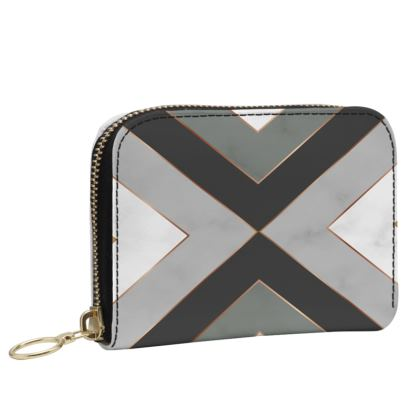 gray geometrical leather zip purse