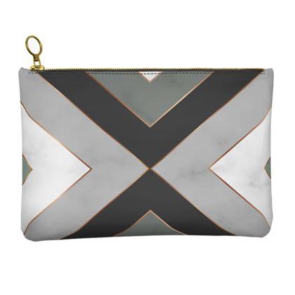 gray geometrical leather clutch bag