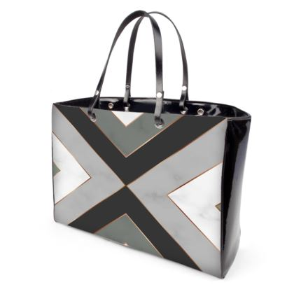 gray geometrical handbag