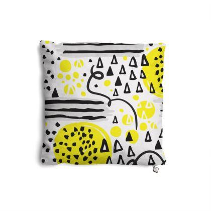 black yellow geometrical pillow set