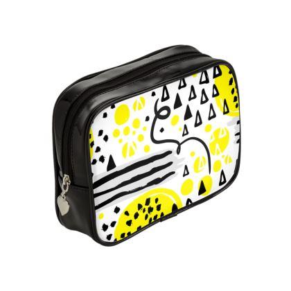 black yellow geometrical make up bag