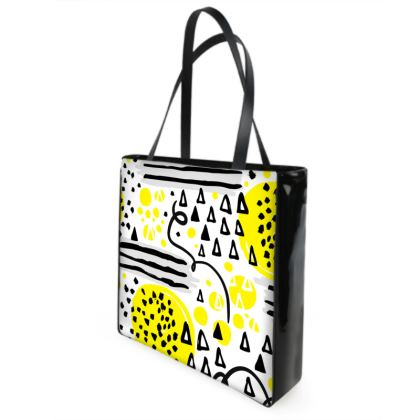 black yellow geometrical shopper bag