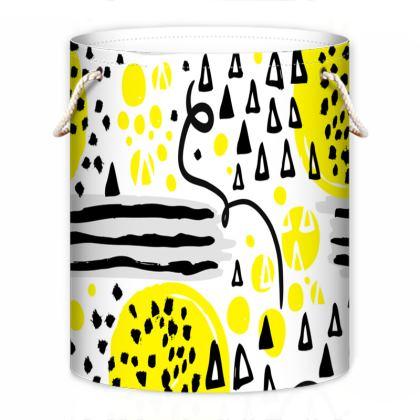 black yellow geometrical laundry bag
