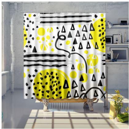 black yellow geometrical shower curtain