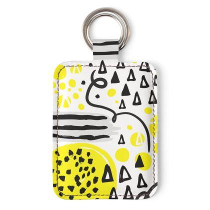 black yellow geometrical keyring