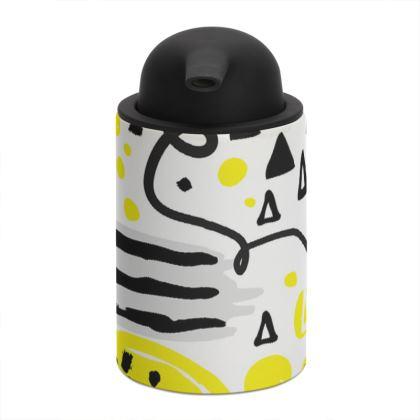 black yellow geometrical soap dispenser