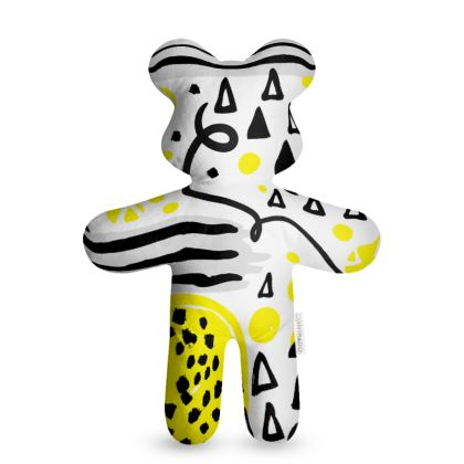 black yellow geometrical teddy bear