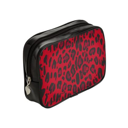 red black animal print make up bag