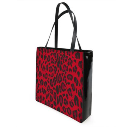 red black animal print shopper bag