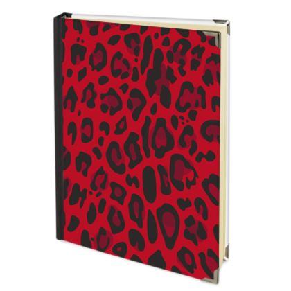 red black animal print journal