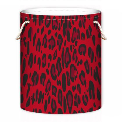 red black animal print laundry bag