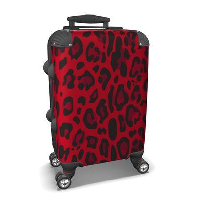 red black animal print suitcase