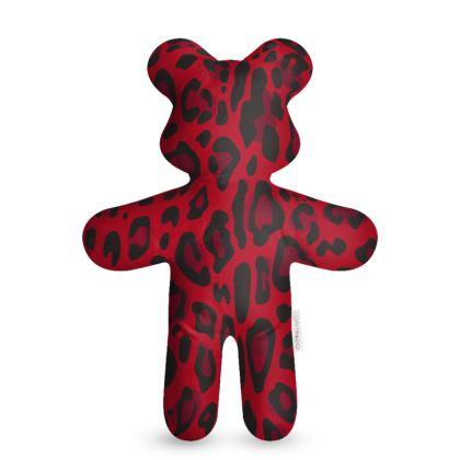 red black animal print teddy bear