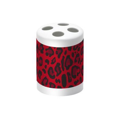 red black animal print toothbrush holder