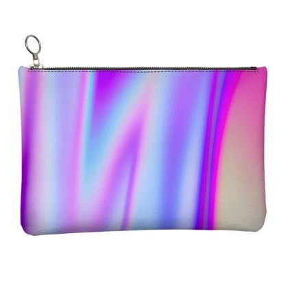 holo effect leather clutch bag