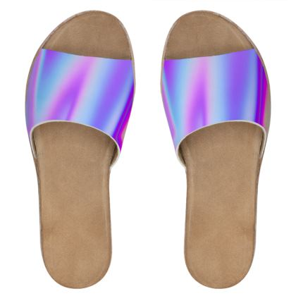 holo effect womens leather sliders