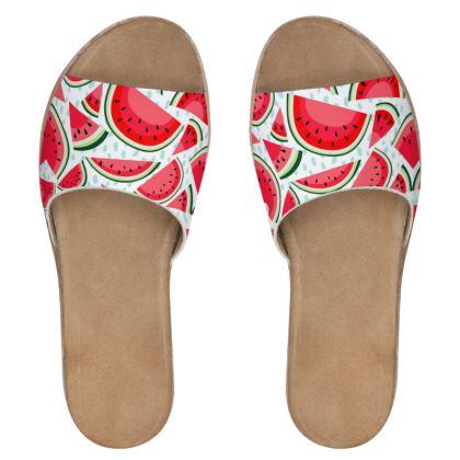 watermelon womens leather sliders
