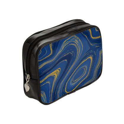 blue gold marble make up bag