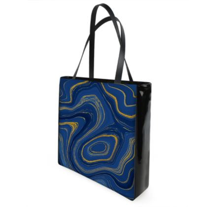 blue gold marble shopper bag