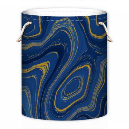 blue gold marble laundry bag
