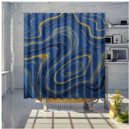 blue gold marble shower curtain