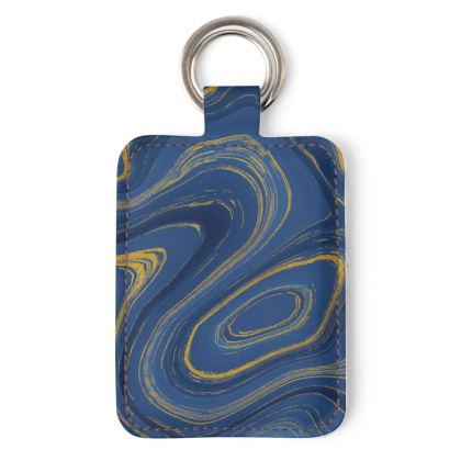 blue gold marble leather keyring
