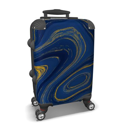 blue gold marble suitcase