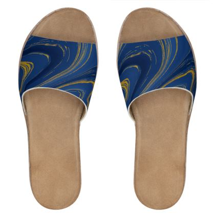 blue gold womens leather sliders