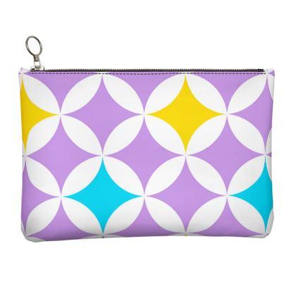 pastel stars leather clutch bag