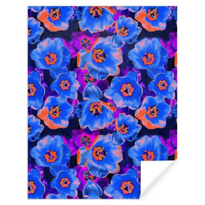 Floral Purple, Orange and Blue Gift Wrap