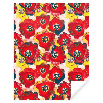 Red and Yellow Flower Print Gift Wrap