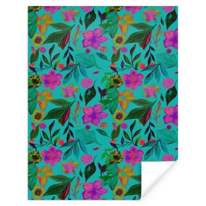 Blue Floral Gift Wrapping Paper