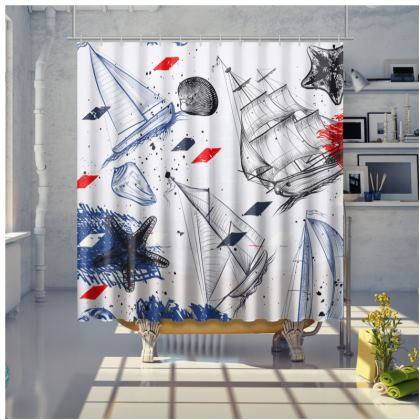 sailing day shower curtain