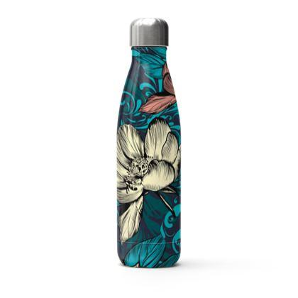 vintage flowers stainless steel thermal bottle