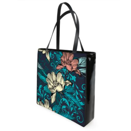 vintage flowers shopper bag