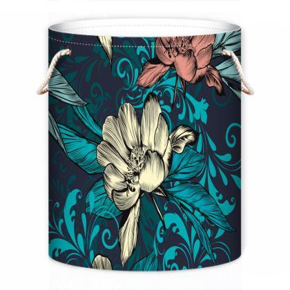 vintage flowers laundry bag