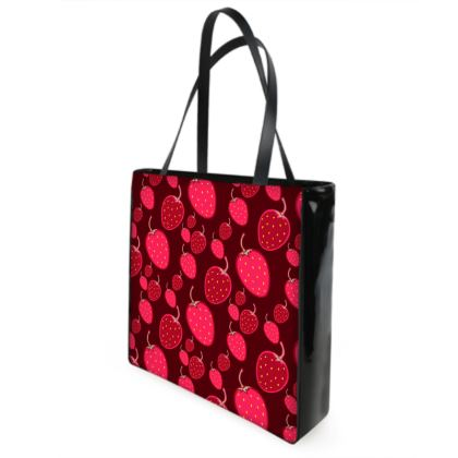 strawberries shopper bag
